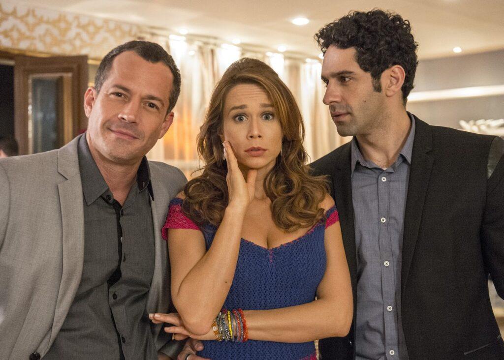 Haja Coração - Malvino Salvador (Apolo), Mariana Ximenes (Tancinha) e João Baldasserini (Beto)